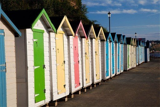 Colourful beach huts Isle of Wight