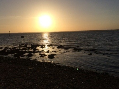 Sunset at Gurnard beach, isle of Wight