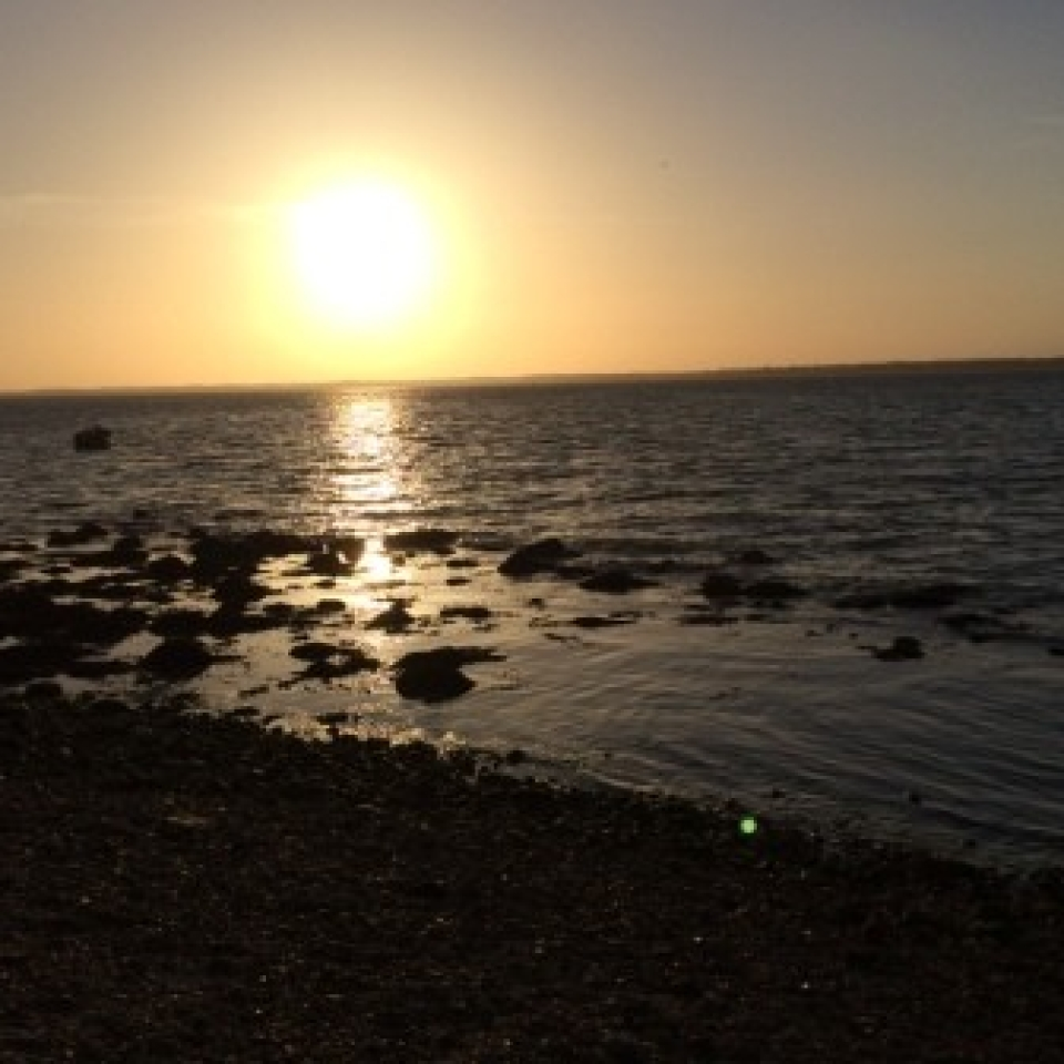 Sunset at Gurnard beach Isle of Wight