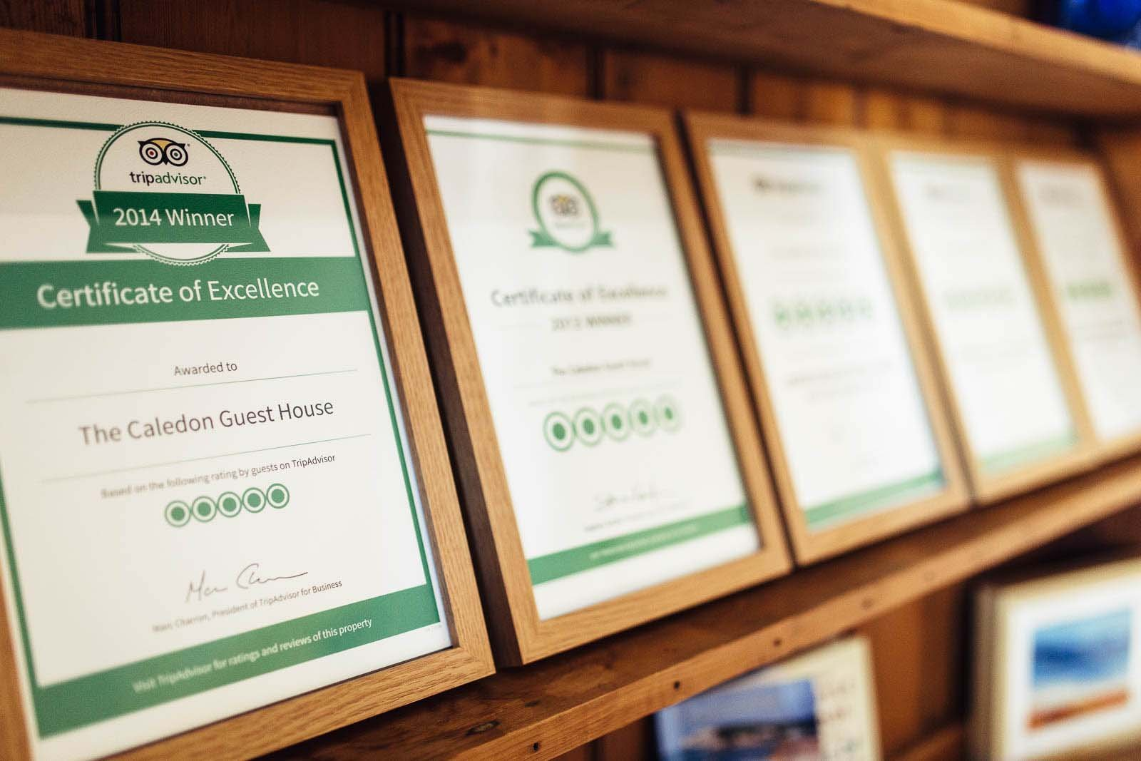 tripadvisor certificates of excellence at The Caledon Guest House, Bed and Breakfast, Cowes, Isle of Wight